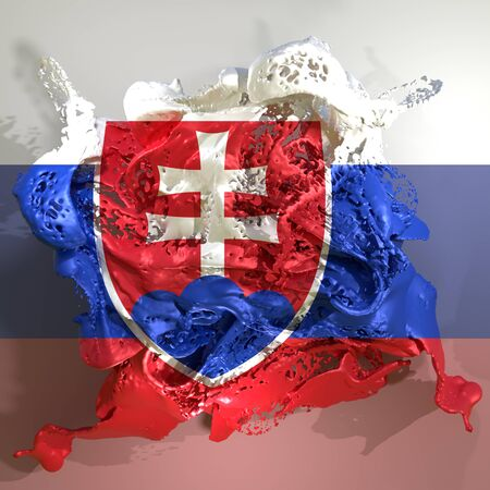 3d rendering of a Slovakia country flag in a liquid fluid.