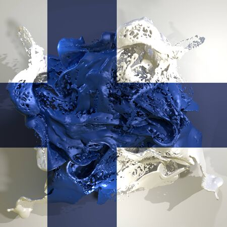 3d rendering of a Finland country flag in a liquid fluid.