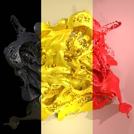 3d rendering of a Belgium country flag in a liquid fluid.