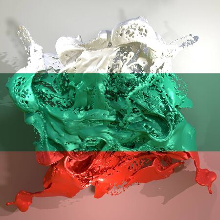 3d rendering of a Bulgaria country flag in a liquid fluid.