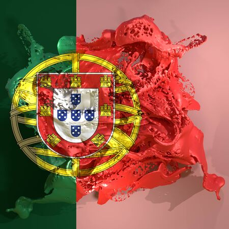 3d rendering of a Portugal country flag in a liquid fluid. Stock Photo
