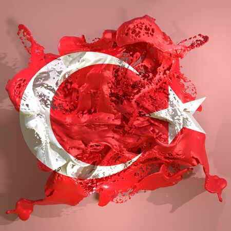 3d rendering of a Turkey country flag in a liquid fluid.