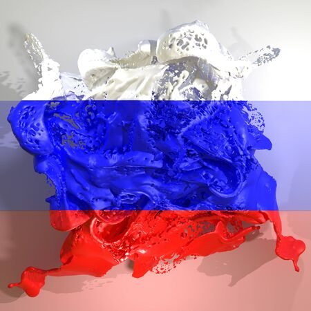 3d rendering of a Russian Federation country flag in a liquid fluid.