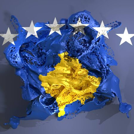 3d rendering of a Kosovo country flag in a liquid fluid.