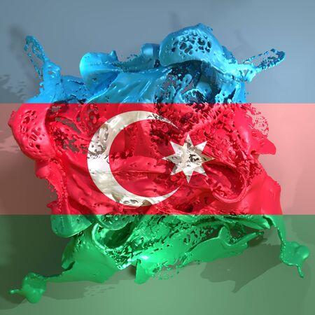 3d rendering of an Azerbaijan country flag in a liquid fluid.