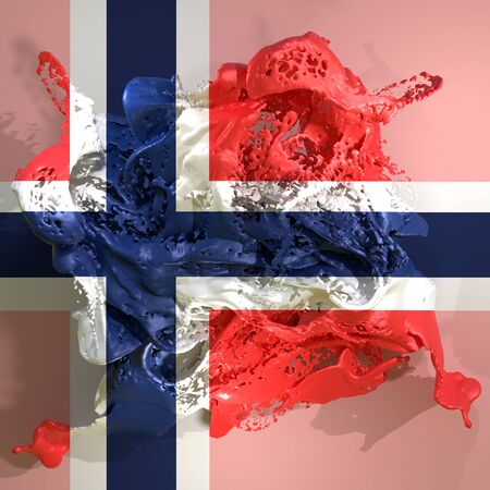 3d rendering of a Norway country flag in a liquid fluid. Stock Photo