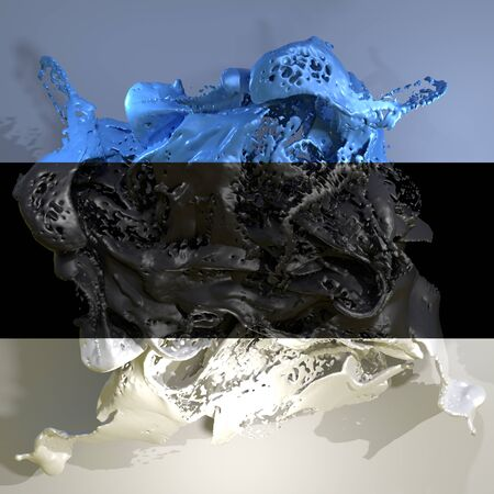 3d rendering of an Estonia country flag in a liquid fluid.