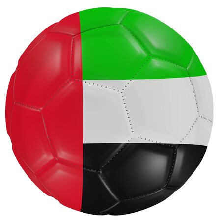 3d rendering of an United Arab Emirates flag on a soccer ball. Isolated in white background Banco de Imagens