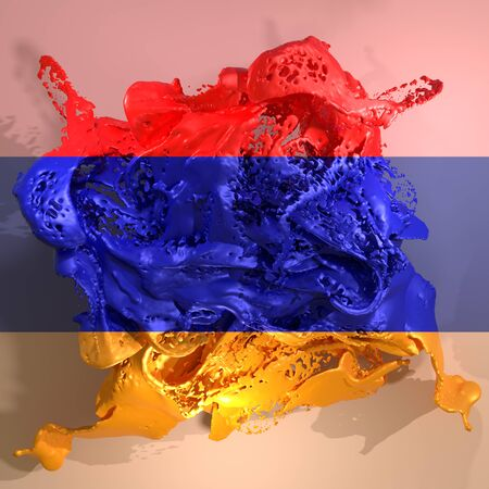 3d rendering of an Armenia country flag in a liquid fluid.