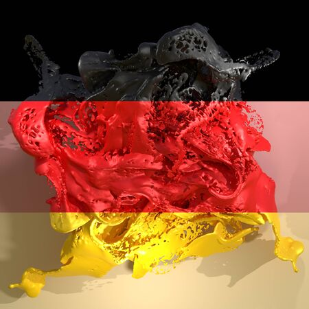 3d rendering of a Germany country flag in a liquid fluid.