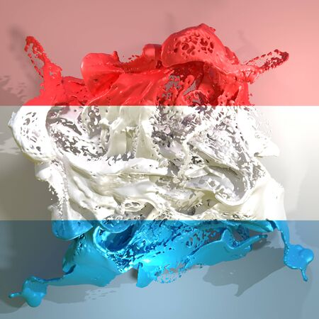 3d rendering of a Luxembourg country flag in a liquid fluid.