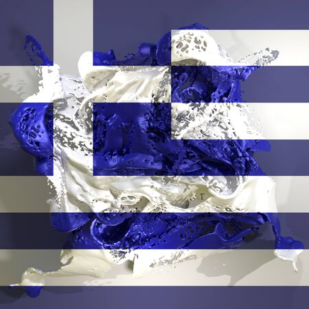 3d rendering of a Greece country flag in a liquid fluid.