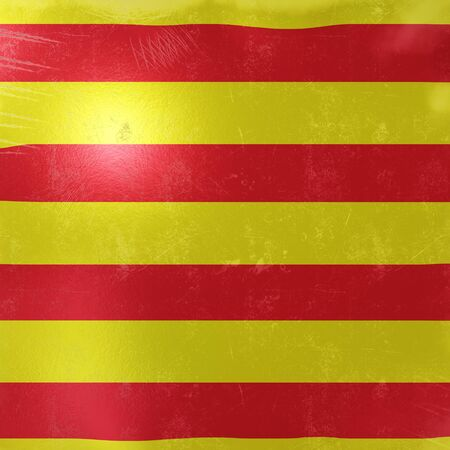 3d rendering of a rusty and old Catalonia Spain Community flag on a metallic surface. Banco de Imagens