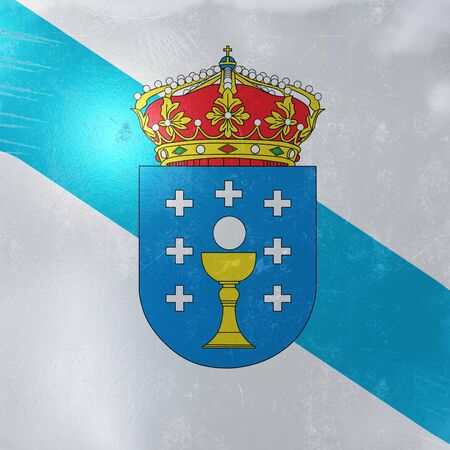 3d rendering of a rusty and old Galicia Spain Community flag on a metallic surface.