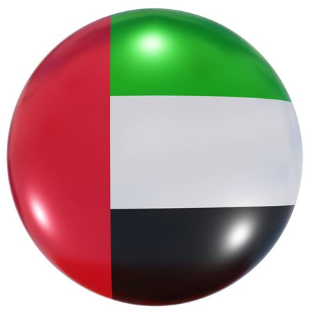 3d rendering of an United Arab Emirates national flag on a circle icon isolated on white background