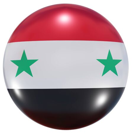 3d rendering of a Syria national flag on a circle icon isolated on white background