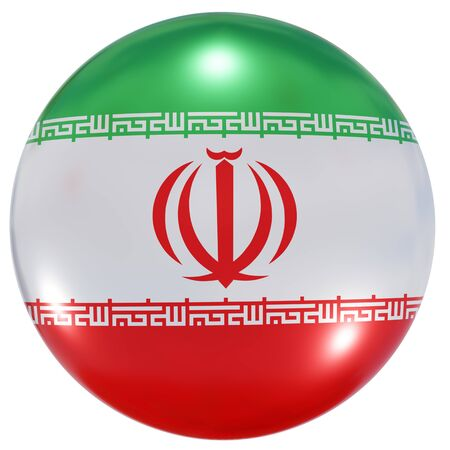 3d rendering of an Iran national flag on a circle icon isolated on white background