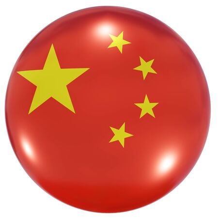 3d rendering of a China national flag on a circle icon isolated on white background Stock fotó