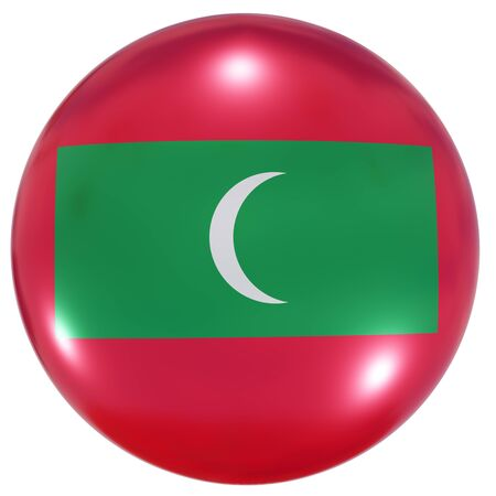 3d rendering of a Maldives national flag on a circle icon isolated on white background