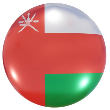 3d rendering of an Oman national flag on a circle icon isolated on white background Stock fotó