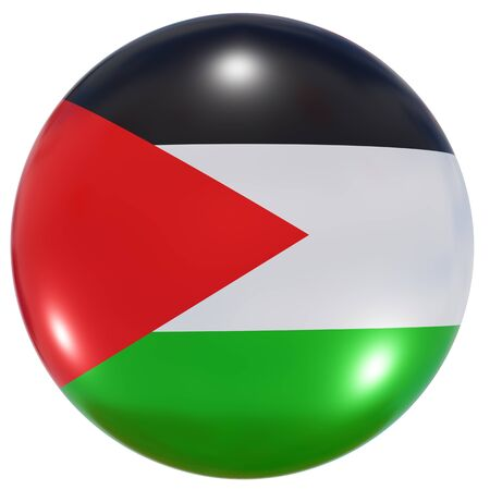 3d rendering of a Palestine national flag on a circle icon isolated on white background