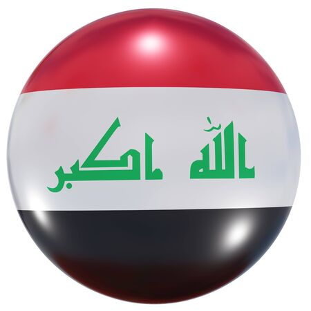 3d rendering of an Iraq national flag on a circle icon isolated on white background