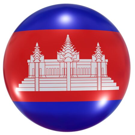 3d rendering of a Cambodia national flag on a circle icon isolated on white background Stock fotó