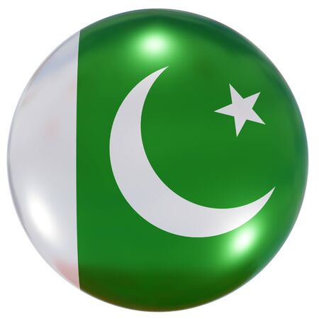 3d rendering of a Pakistan national flag on a circle icon isolated on white background Stock fotó