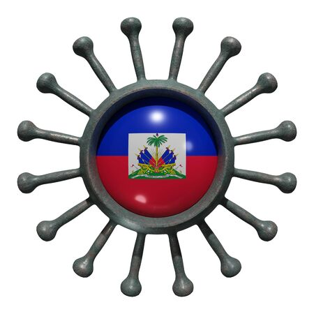 3d rendering of a national Haiti flag over a virus covid19. Concept of the fight of the countries vs pandemic. Isolated on white background