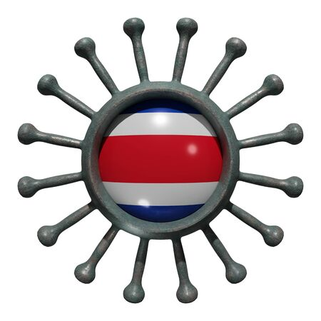 3d rendering of a national Costa Rica flag over a virus covid19. Concept of the fight of the countries vs pandemic. Isolated on white background