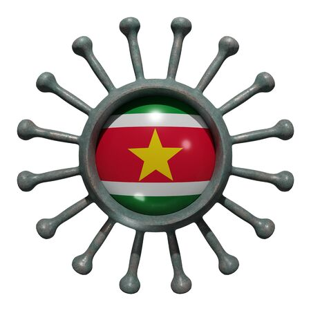 3d rendering of a national Suriname flag over a virus covid19. Concept of the fight of the countries vs pandemic. Isolated on white background