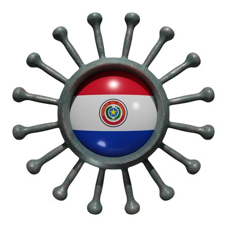 3d rendering of a national Paraguay flag over a virus covid19. Concept of the fight of the countries vs pandemic. Isolated on white background