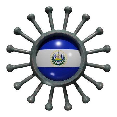 3d rendering of a national El Salvador flag over a virus covid19. Concept of the fight of the countries vs pandemic. Isolated on white background 免版税图像