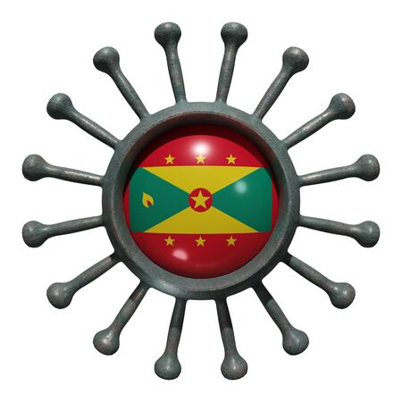 3d rendering of a national Grenada flag over a virus covid19. Concept of the fight of the countries vs pandemic. Isolated on white background 免版税图像