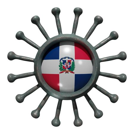 3d rendering of a national Dominican Republic flag over a virus covid19. Concept of the fight of the countries vs pandemic. Isolated on white background 免版税图像