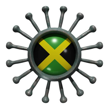 3d rendering of a national Jamaica flag over a virus covid19. Concept of the fight of the countries vs pandemic. Isolated on white background 免版税图像