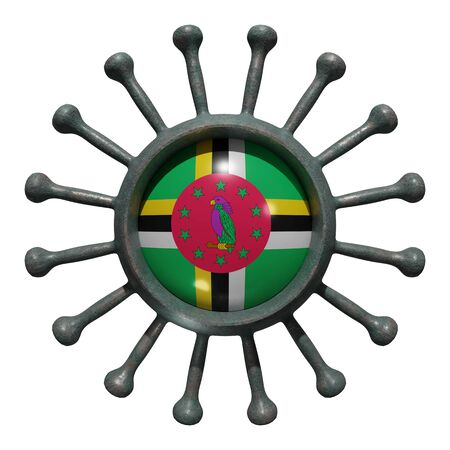 3d rendering of a national Dominica flag over a virus covid19. Concept of the fight of the countries vs pandemic. Isolated on white background