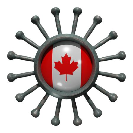 3d rendering of a national Canada flag over a virus covid19. Concept of the fight of the countries vs pandemic. Isolated on white background