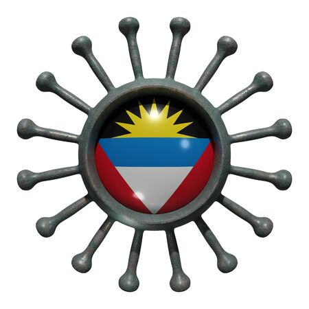 3d rendering of a national Antigua and Barbuda flag over a virus covid19. Concept of the fight of the countries vs pandemic. Isolated on white background