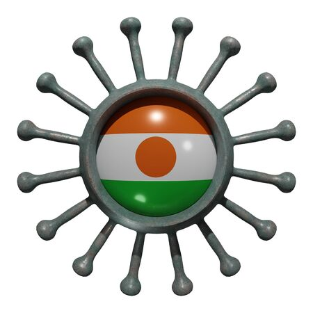 3d rendering of a national Niger flag over a virus covid19. Concept of the fight of the countries vs pandemic. Isolated on white background