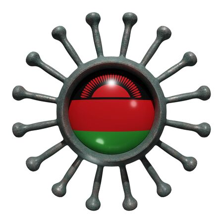3d rendering of a national Malawi flag over a virus covid19. Concept of the fight of the countries vs pandemic. Isolated on white background