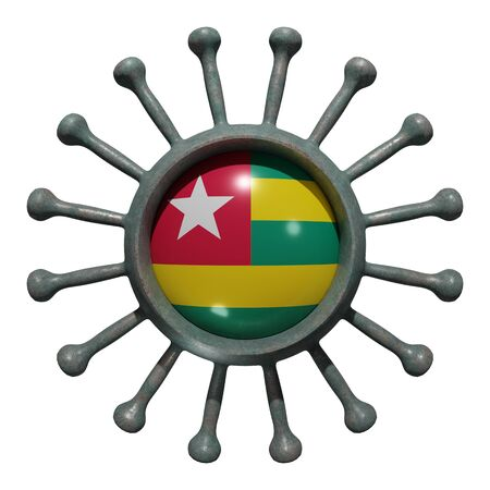 3d rendering of a national Togo flag over a virus covid19. Concept of the fight of the countries vs pandemic. Isolated on white background