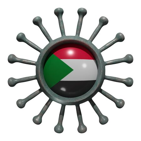 3d rendering of a national North Sudan flag over a virus covid19. Concept of the fight of the countries vs pandemic. Isolated on white background 版權商用圖片