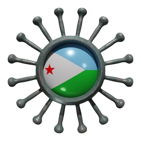 3d rendering of a national Djibouti flag over a virus covid19. Concept of the fight of the countries vs pandemic. Isolated on white background