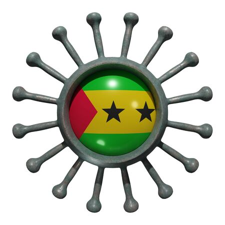 3d rendering of a national Sao Tome and Principe flag over a virus covid19. Concept of the fight of the countries vs pandemic. Isolated on white background Stock Photo