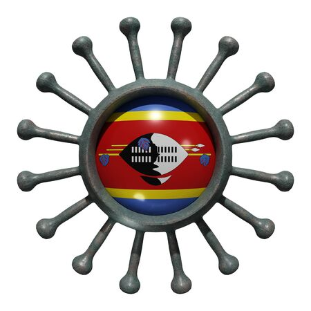 3d rendering of a national Swaziland flag over a virus covid19. Concept of the fight of the countries vs pandemic. Isolated on white background