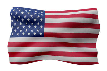 3d rendering of a national USA flag isolated on white background Stock Photo