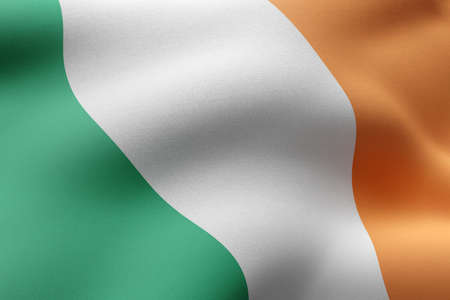 3d rendering of a detail of a silked Ireland flag