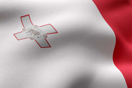 3d rendering of a detail of a silked Malta flag