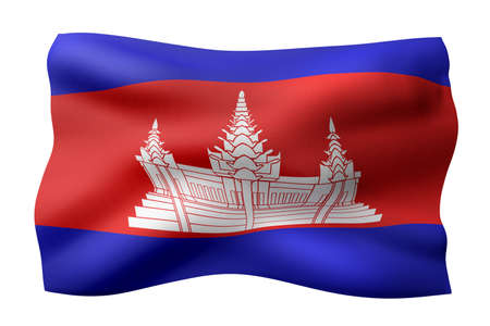 3d rendering of a silked Cambodia flag isolated on white background. Stok Fotoğraf